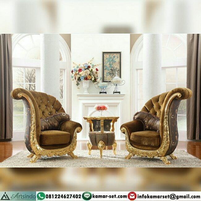 "Set Kursi santai model klasik gold eropa  Berminat memiliki #furnituremewah #furnitureukir…"""