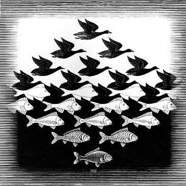 #6MIJN MENING: Het knappe van Escher's werken is de preciese overgang dat er is. Hoe hij precies de vissen zo kan zetten dat weer vogels worden en andersom. Ik vind het mooi dat het zo goed is doordacht. Van dit werk heb ik thuis ook een klok! MC Escher | ourpaintedworld