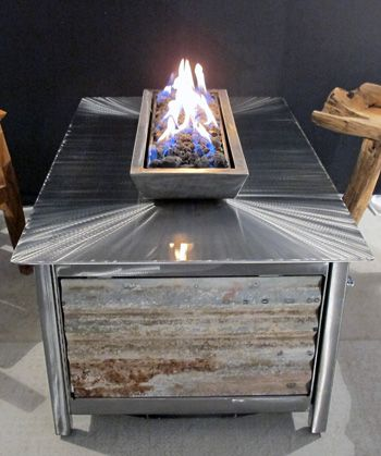Modern Industrial Outdoor Steel Fire Table With Stainless Steel Burner And  Fire Box And Powder Coated