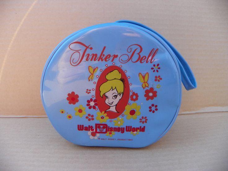 Vintage Rare Tinker Bell Walt Disney World 1970's Round Blue Purse , Tinkerbell Vinyl Zippered Carry Case , Disney Memorabilia Souvenir by ShersBears on Etsy