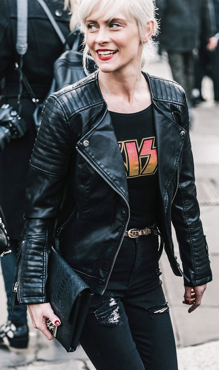 Vintage T shirt paired with leather jacket and black jeans