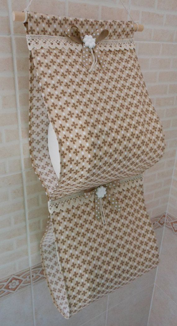 Porta rotolo di carta igienica in tessuto (fatto a mano, marrone con motivo floreale)