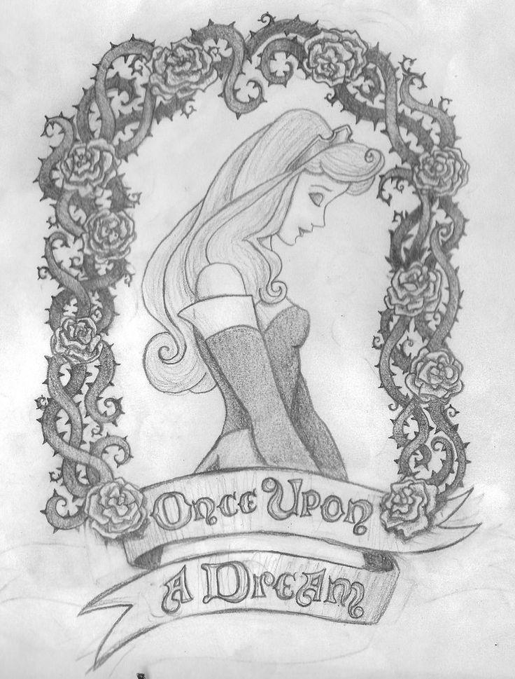 "Lauren Ashley Langley: GRAPHIC DESIGNER • ILLUSTRATOR | ""Once Upon a Dream"" by Lauren Langley @ LaurenAshleyLangley.daportfolio.com Pencil sketch/ illustraion of a Sleeping Beauty tattoo design."