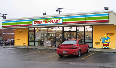 2007 20th Century Fox partnered with 7-Eleven to transform 12 of its stores into Kwik-E-Marts, the shop run by Apu in The Simpsons