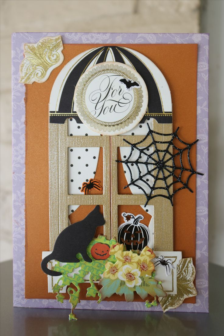 Used The Window Ledge card and die kit from Anna Griffin to make the Halloween Card