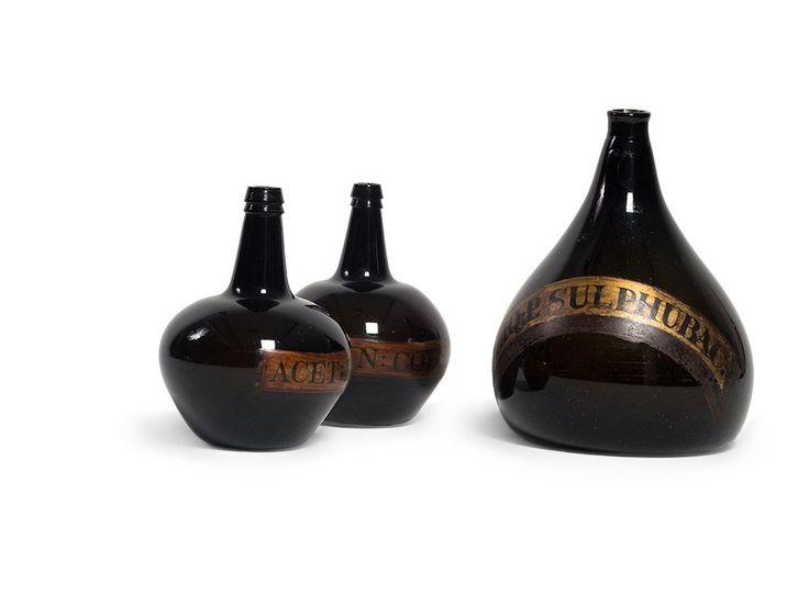Three large Apothecary Bottles, Dark Glass, England, : Lot 0060