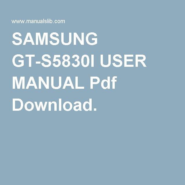 SAMSUNG GT-S5830I USER MANUAL Pdf Download.