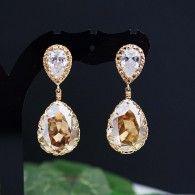 Golden Shadow Swarovski Crystal Bridesmaid earrings, party earrings from EarringsNation