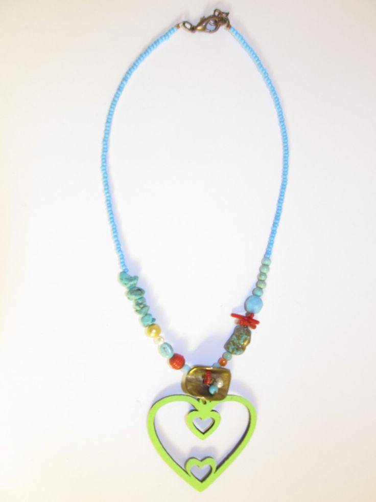 Handmade short leather necklace (1 pc)  Made with light green leather heart, brass metal, semiprecious stones and glass beads.