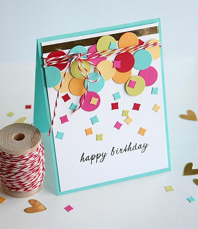 Use your paper scraps to make Balloons & Confetti for a Birthday card!