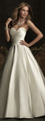 Ivory Ruched Satin back Taffeta Strapless A Line Wedding Gown