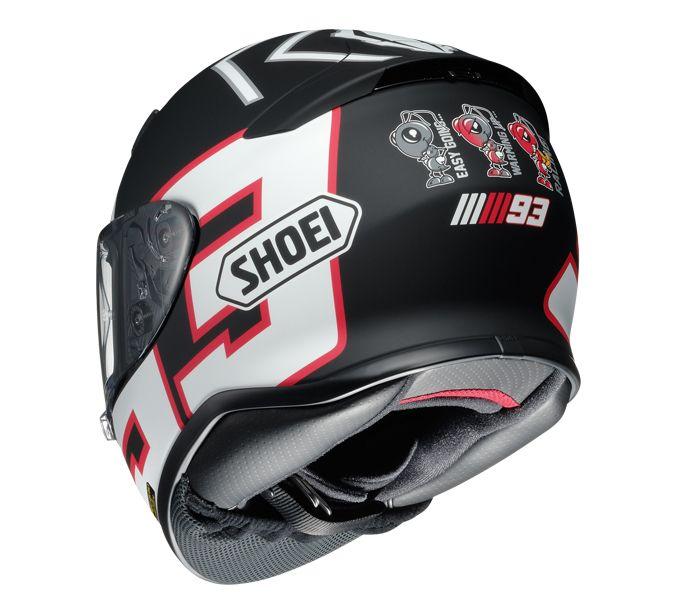 Le casque Shoei NXR avec la décoration du célèbre pilote de Moto GP, Marc Marquez.