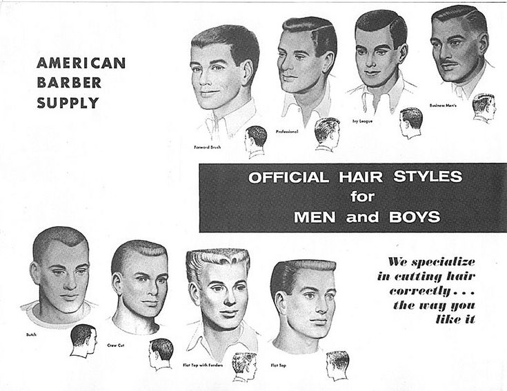https://flic.kr/p/9BGMNc | 1950s Mens Hair Styles | In the mid-1950's, the flattop was the most popular men's hairstyle in the United States. Some of the most popular mens hair products were Vitalis, Brylcreem, Butch Wax, and Pomade.