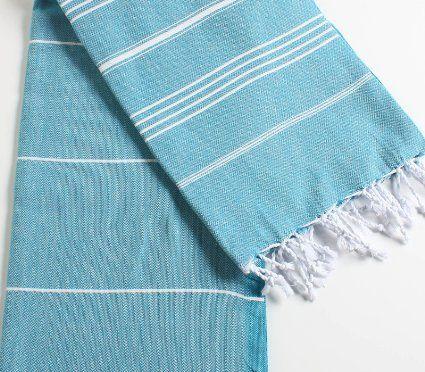 "Amazon.com - Cacala 100% Cotton Pestemal Turkish Bath Towel, 37 x 70"", Aqua - Bath Towels"