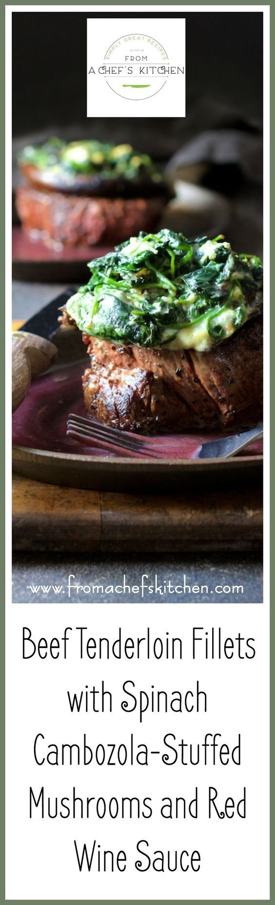 """This """"over-the-top"""" Beef Tenderloin Fillets with Spinach Cambozola Stuffed Portobello Mushrooms and Red Wine Sauce is entree and side dish all in one.  via @chefcarolb"""