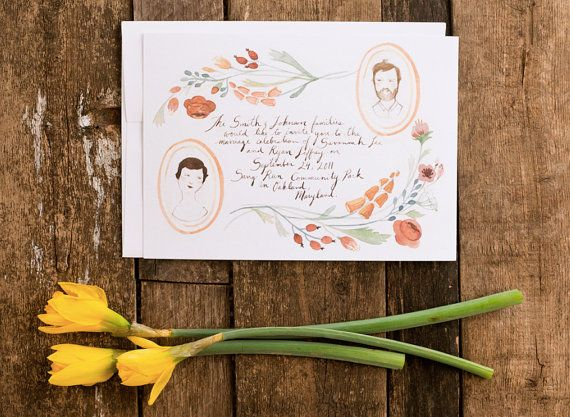 Floral Portraits hand drawn invitation set by: Kelsey Riley: Drawn Invitations, Floral Portraits, Watercolor Portraits, Portraits Hands, Handmade Wedding, Wedding Invitations, Wedding Photos, Wedding Blog, Hands Drawn
