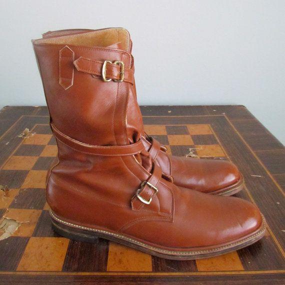 Bespoke ingénieur bottes Cognac cuir kowloon ingénieur bracelet vintage chasse bottes