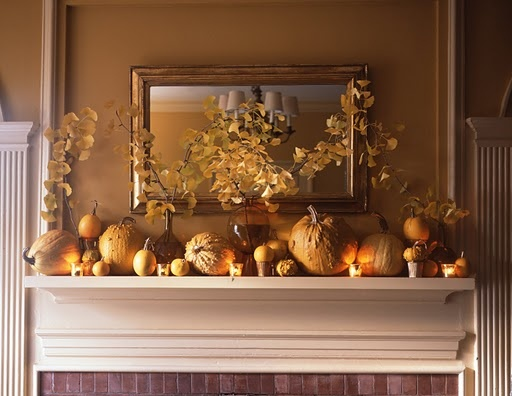 fall fireplace mantel decor...can't wait to do this in the new house!