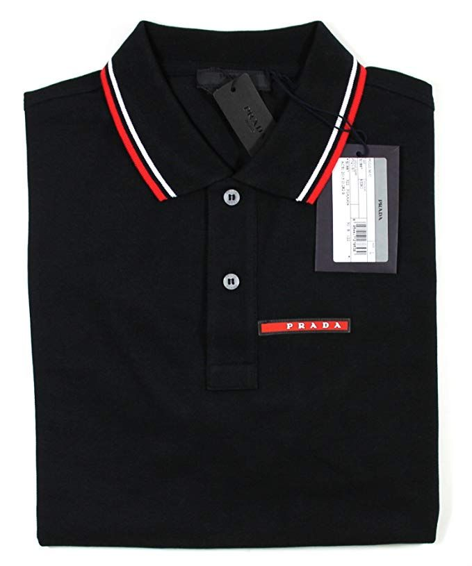 9272898d9 Prada Men s Cotton Piqué Short Sleeve Slim Fit Polo Shirt