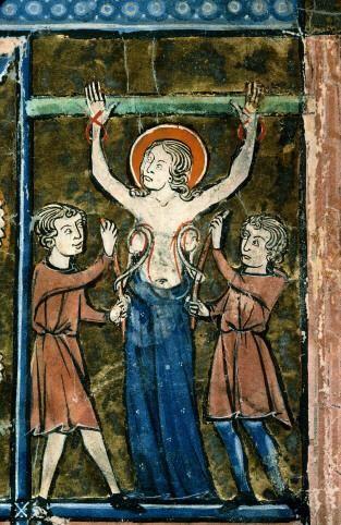 Le martyre de sainte Agathe. Psautier à l'usage de Reims. XIIIe.