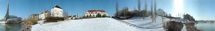 Eglise et bassin sous la neige à Bussy-Saint-Georges - 2006