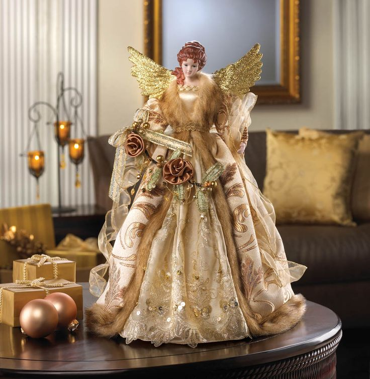 christmas angels or stars on top of trees | ... Wholesale Christmas Decorations > Golden Christmas Angel Tree Topper