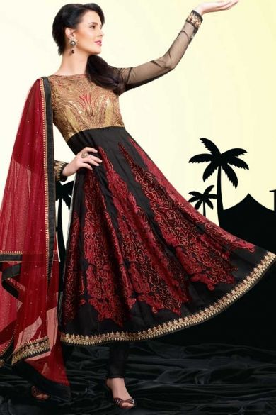 Designer Embroidered Festival Anarkali Kameez; Black and Cardinal Red Chiffon Embroidered Party and Festival Anarkali Kameez