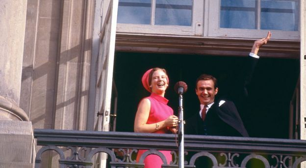 Princess Margrethe of Denmark with her fiancé the French Count Henri de Laborde de Monpezat on the day of their engagement 1966