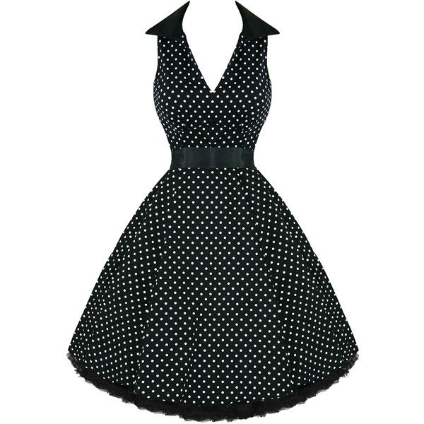 Hearts and Roses London Black Polka Dot 1950s Dress ($49) ❤ liked on Polyvore featuring dresses, goth dress, vintage gothic dresses, gothic prom dresses, gothic lolita dress and heart shaped prom dresses