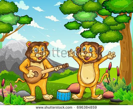Vector illustration of lion playing music in the jungle, cartoon illustration for book cover and children book.