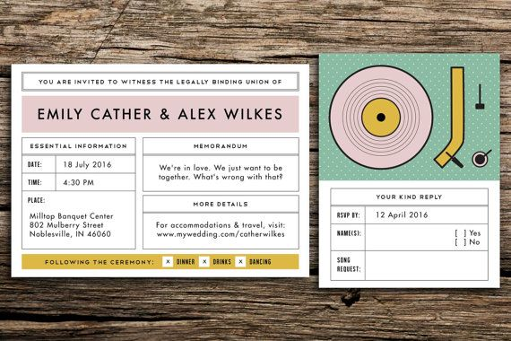Moonrise Kingdom Wedding Invitation Suite // Wes Anderson Wedding Whimsical Invitation Eclectic Wedding Retro Record Player Pink Mustard