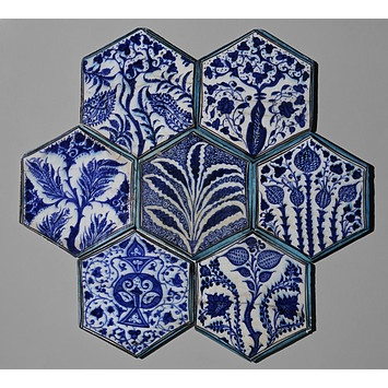 Tile, Damascus, Syria. 1420-1450 artist unknown. From the Collection of the Victoria and Albert Museum. They have a stunning group of Islamic tiles.