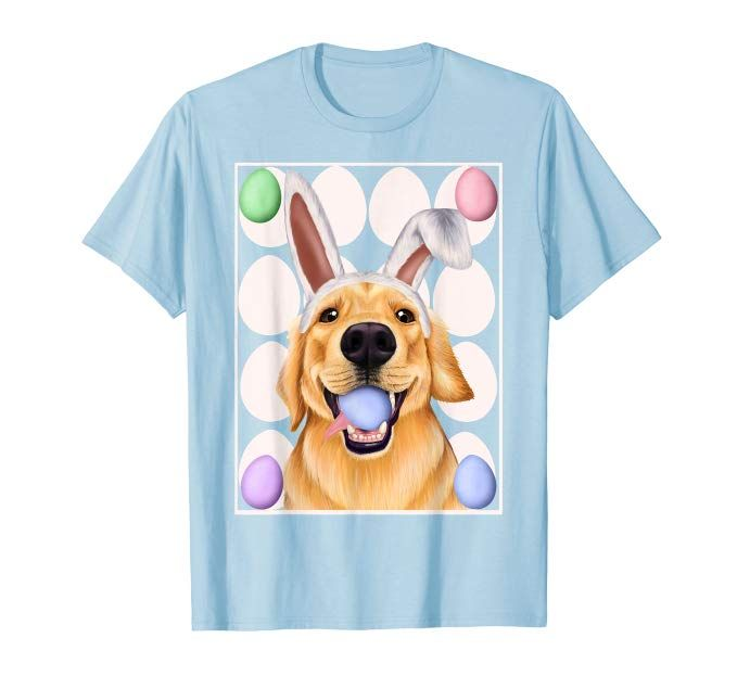 Golden Retriever With Bunny Ears And Easter Eggs Shirt Golden