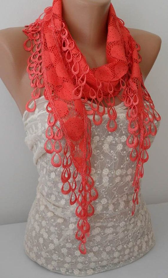 ON SALE Coral Scarf Cowl Scarf Womens Fashion by JasmineAccessory, $9.90