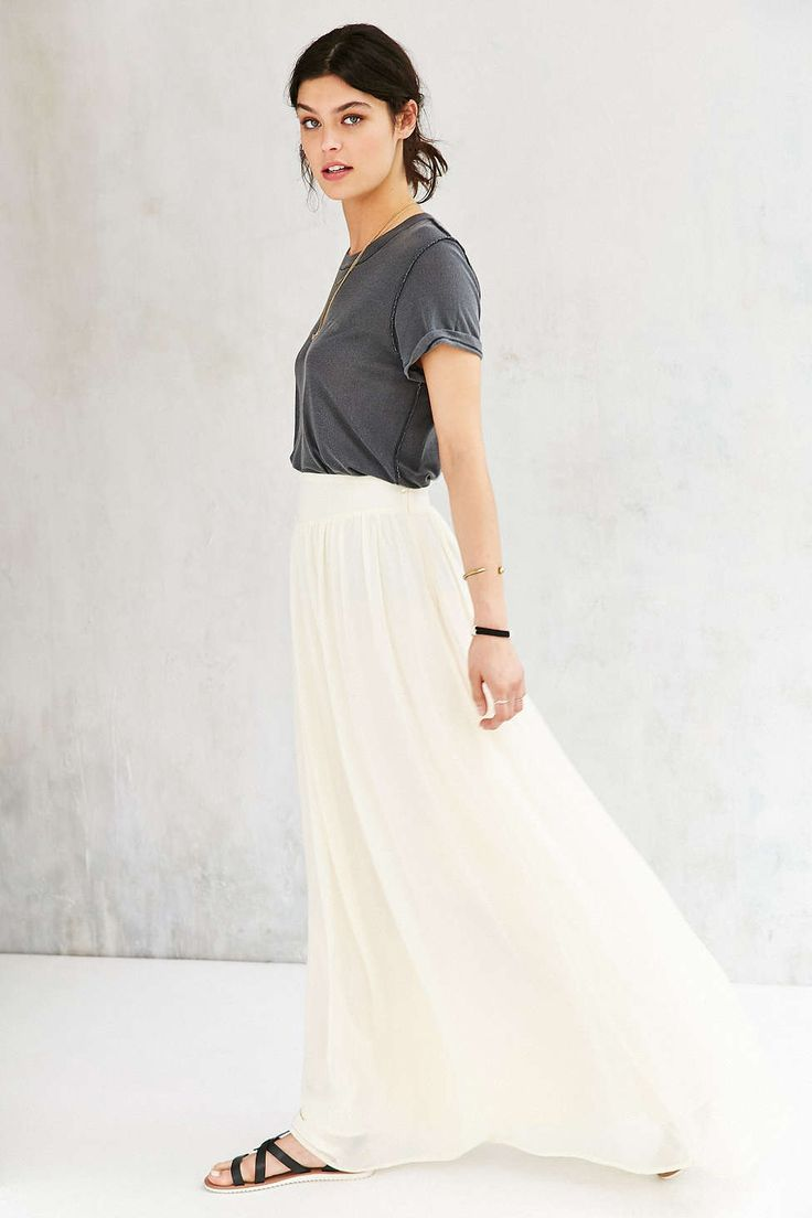 Pins And Needles Yoke Chiffon Maxi Skirt - Urban Outfitters