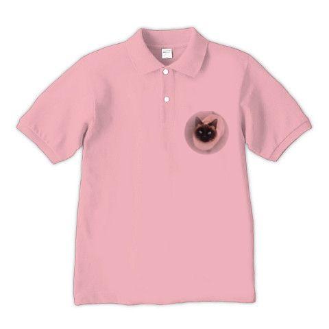 DOKONJYOUスシ子Blue eyes2 ポロシャツ(コーラルピンク):シャム猫スシ子ちゃんのカラーバージョンですbyち畳工房:ちょっと笑えるパロディとシャム猫がモチーフの商品です