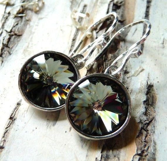 Black Diamond Crystal Earrings Swarovski Rivoli by JBMDesigns, $24.00