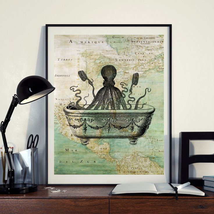 Vintage Map of North America Octopus Bath Sea Ocean Seaside Nautical Poster Instant Download Printable A4 A3 8×10 & 11x14 Wall HQ300dpi by ZikkiArt on Etsy