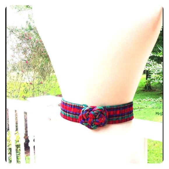 """Christmas Red Green Knot Buckle Stretch Belt festive vintage Christmas Red green blue metallic fabric knot buckle stretch belt; will fit waist up 23""""-33""""; great vintage condition Vintage Accessories Belts"""