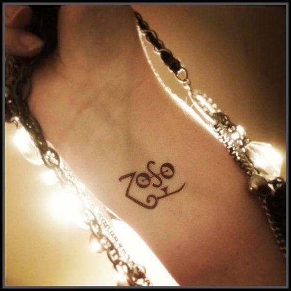 Zoso tattoo temporary tattoo Jimmy Page by SharonHArtDesigns