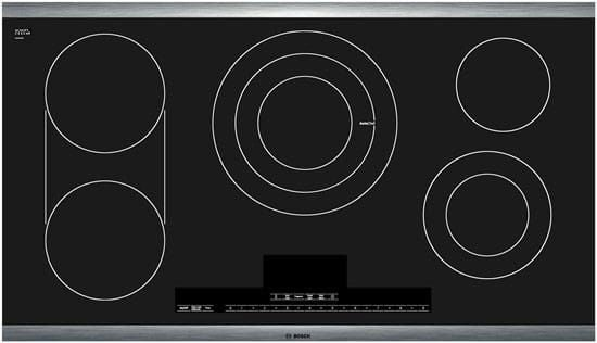 Bosch NETP666SUC 37 Inch Smoothtop Electric Cooktop with 5 Cooking Zones, Triple Element, Bridge Element, CountDown Timer, AutoChef Sensor, Heat Indicator, ADA Compliant and Keep Warm Function