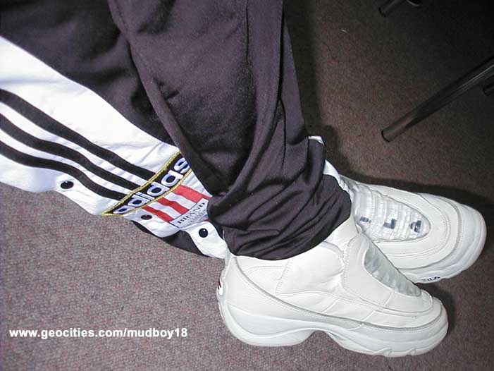 Had these ADIDAS tearaway pants and a pair of these futuristic FILAs in blue for basketball in Grade 5. Swag.