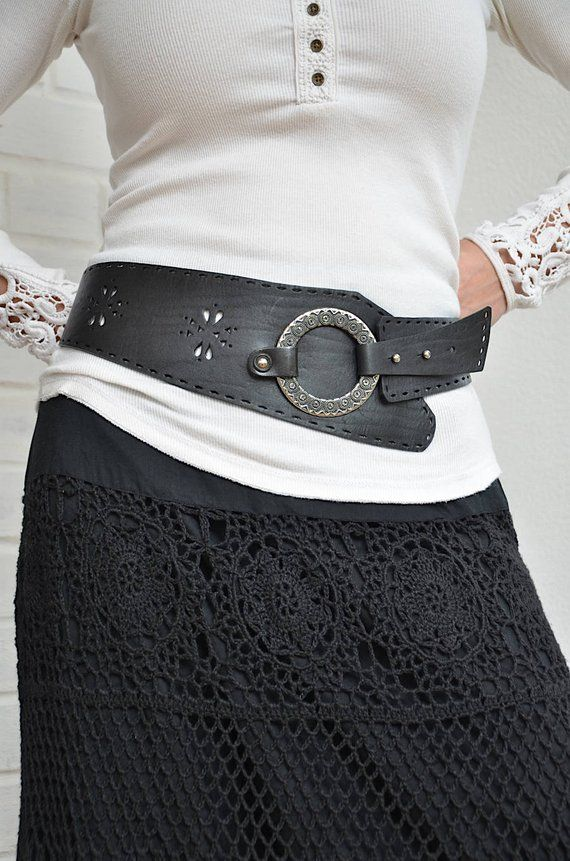 87e8d343014 Wide hip belt Womens belt Black leather belt Womens leather belt Boho belt  Bohemian accessories for