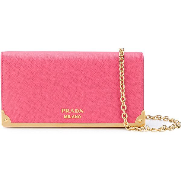 Prada logo plaque clutch bag (50.285 RUB) ❤ liked on Polyvore featuring bags, handbags, clutches, pink, pink handbags, prada clutches, prada pochette, chain handle handbags and pink clutches