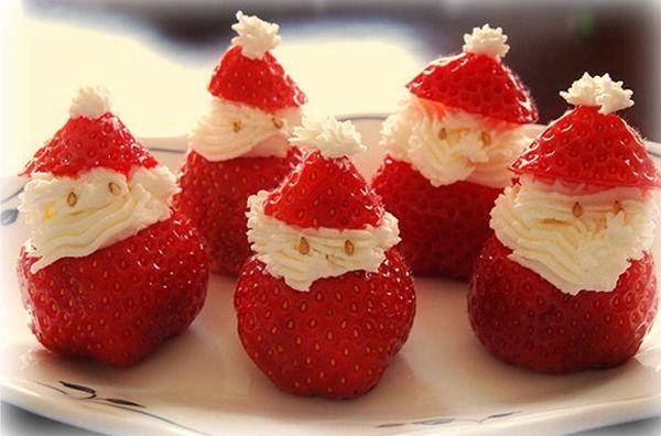 Un postre navideño diferente. otra forma de hacer fresas con crema :P
