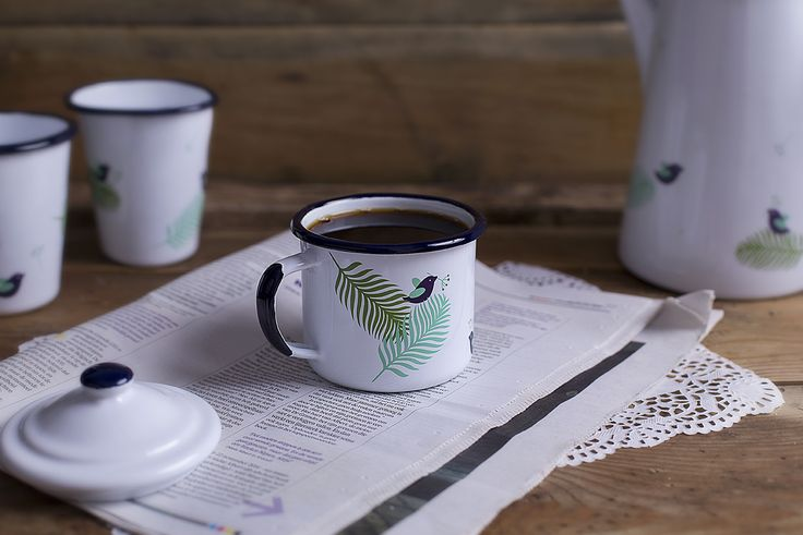 Standard size and shape enamel mug for your home and your garden.