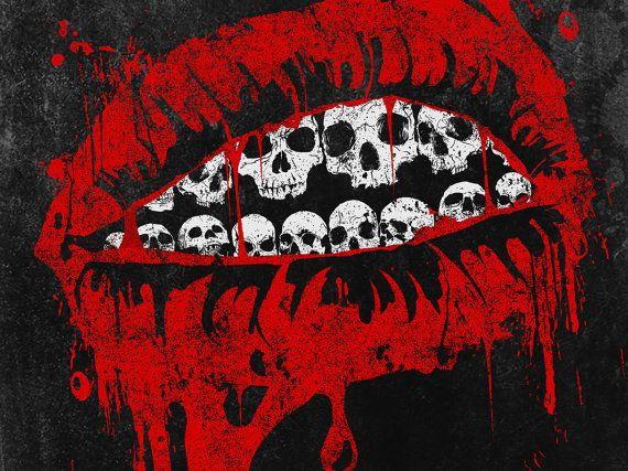 Original digital print skull lips red black white by TotalLost