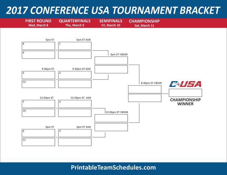 Conference USA Men's Basketball Tournament Bracket 2017. Print Here - http://printableteamschedules.com/NCAA/conferenceusatournamentbracket.php