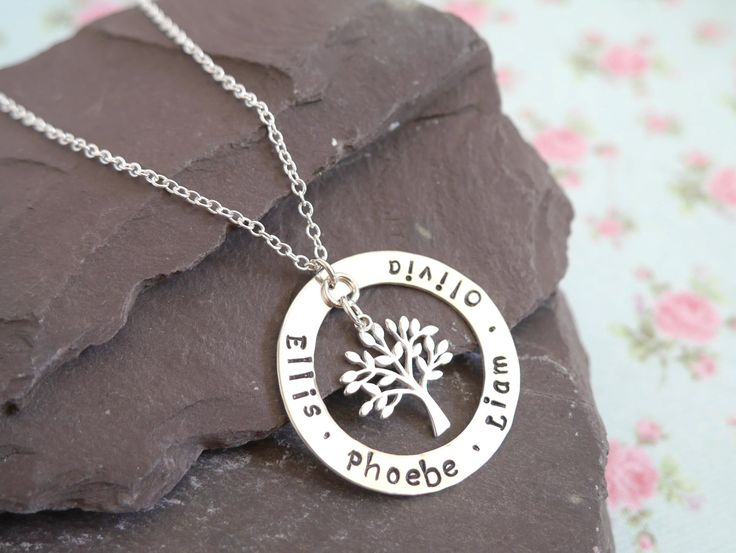 Sterling Silver Family Tree Necklace, Personalised Family Names Pendant, Christmas Gift idea for Mum,Children's Names,Tree of Life Jewellery by EllisAndPip on Etsy