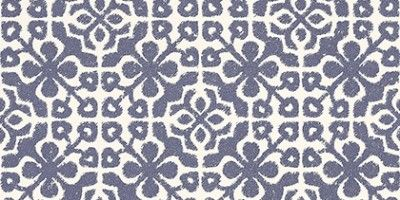 Tile  (128044) - Esta Home Wallpapers - An all over tile effect design with a geometric pattern with an antique effect, shown here in navy blue and cream. Please request a sample for true colour match.